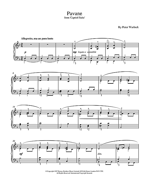 Partition piano Pavane de Peter Warlock - Piano Solo