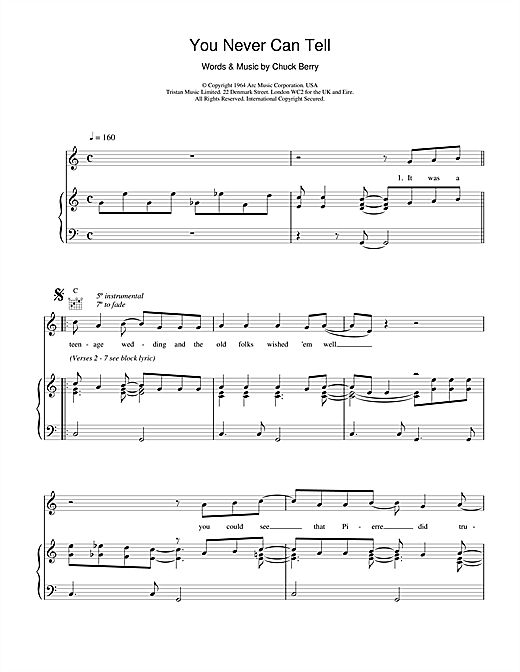 You Never Can Tell (from Pulp Fiction) Sheet Music
