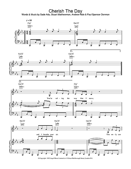 Cherish The Day (Piano, Vocal & Guitar (Right-Hand Melody))