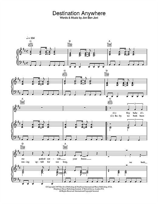 Destination Anywhere Sheet Music