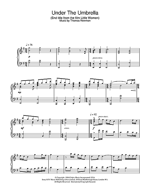 Partition piano Under The Umbrella (End Title from Little Women) de Thomas Newman - Piano Solo