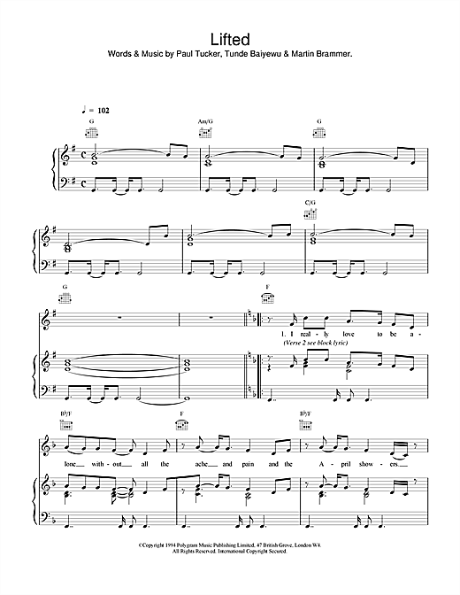 Lifted Sheet Music