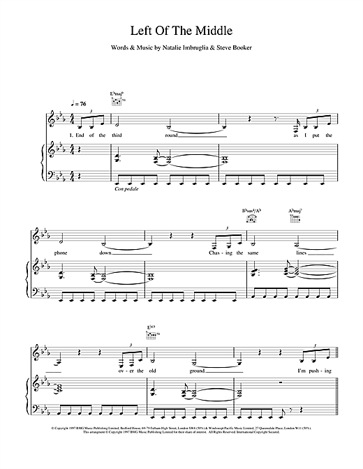Partition piano Left Of The Middle de Natalie Imbruglia - Piano Voix Guitare