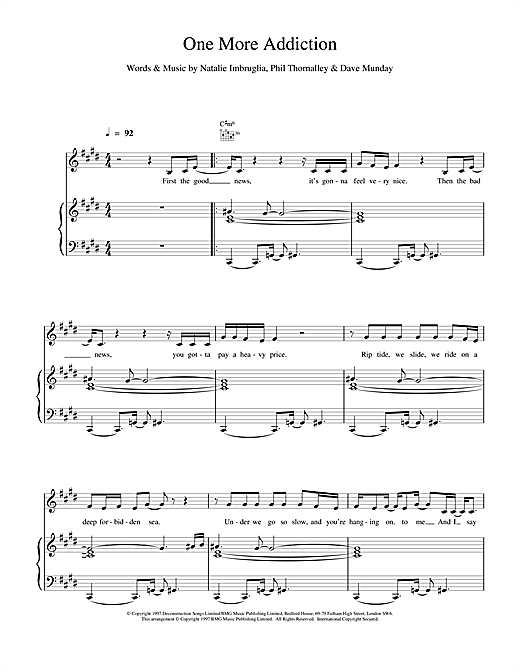 Partition piano One More Addiction de Natalie Imbruglia - Piano Voix Guitare