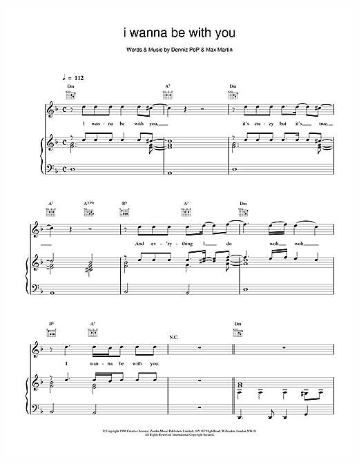 I Wanna Be With You Sheet Music