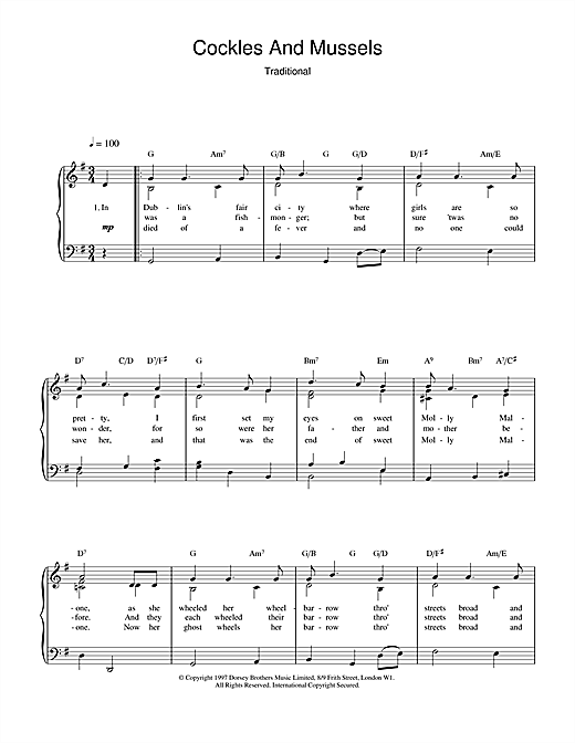 Cockles And Mussels Sheet Music