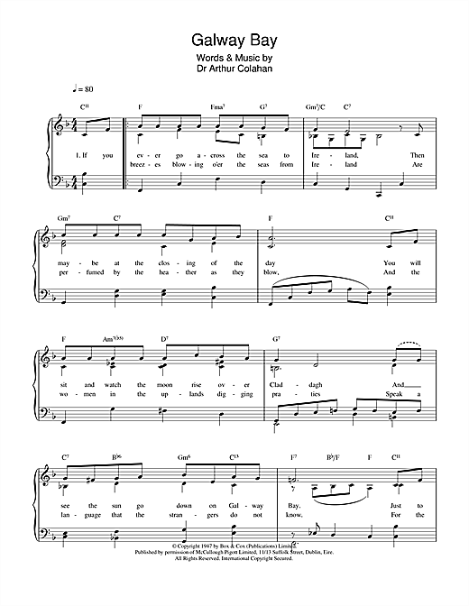 Galway Bay (Piano, Vocal & Guitar (Right-Hand Melody))