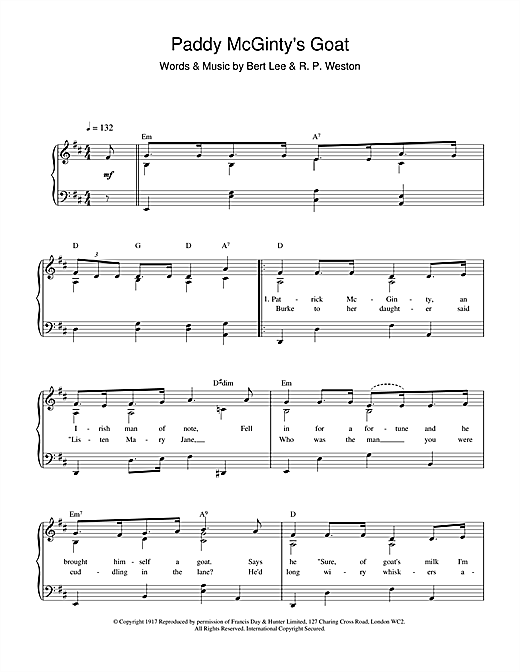 Partition piano Paddy McGinty's Goat de Bert Lee - Piano Voix Guitare