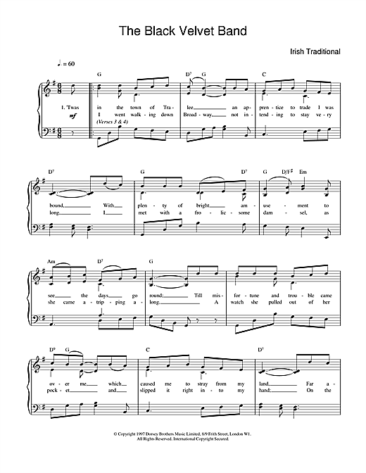 The Black Velvet Band sheet music by Irish Folksong (Piano, Vocal ...