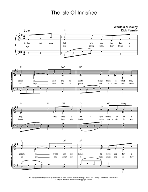 The Isle Of Innisfree Sheet Music