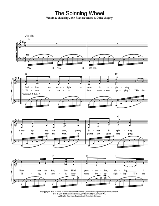 The Spinning Wheel Song Sheet Music