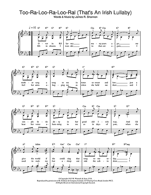 Partition piano Too-Ra-Loo-Ra-Loo-Ral (That's An Irish Lullaby) de James R. Shannon - Piano Voix Guitare