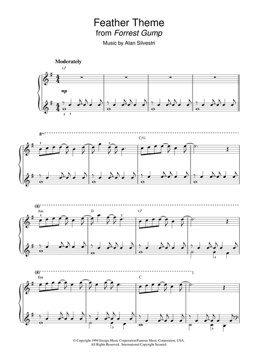 Feather Theme (from Forrest Gump) Sheet Music