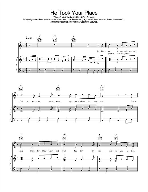 He Took Your Place (Piano, Vocal & Guitar (Right-Hand Melody))