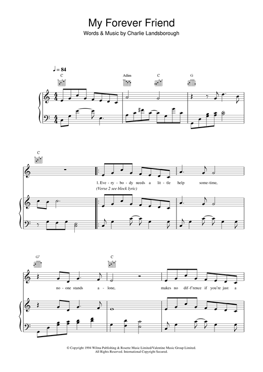 My Forever Friend Print Sheet Music Now