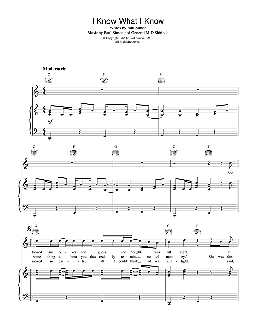 I Know What I Know (Piano, Vocal & Guitar (Right-Hand Melody))