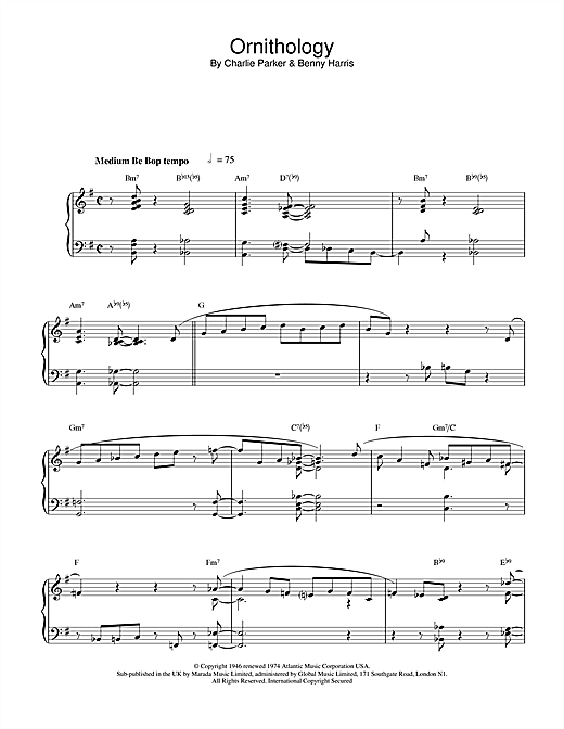 Ornithology Sheet Music