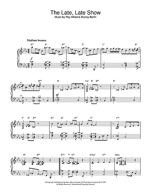 The Late, Late Show Sheet Music
