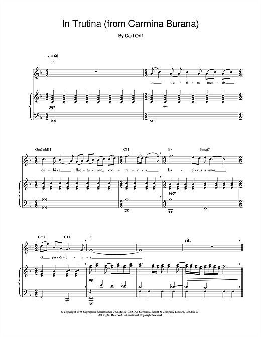 Partition piano In Trutina (from Carmina Burana) de Charlotte Church - Piano Voix Guitare