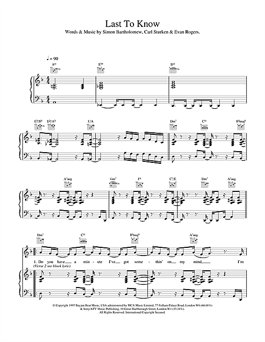 Last To Know Sheet Music