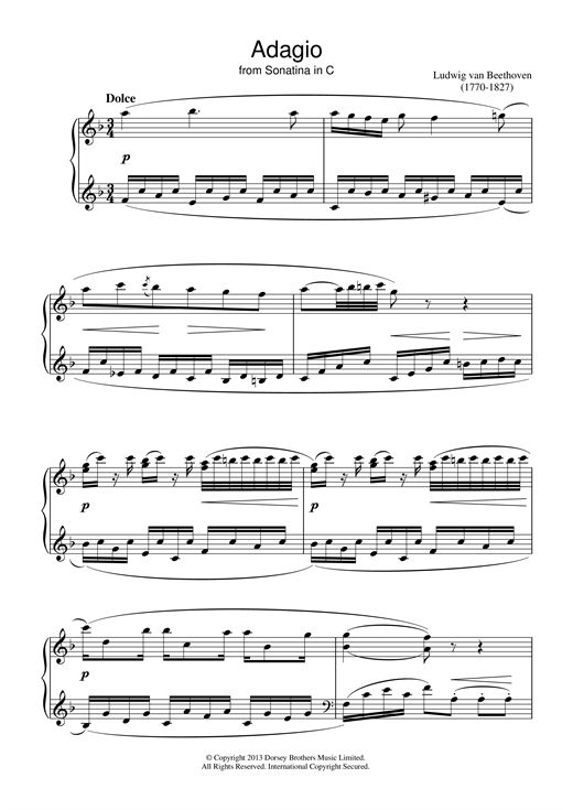 Adagio Sonatina In C Sheet Music