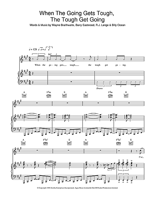 When The Going Gets Tough, The Tough Get Going Sheet Music