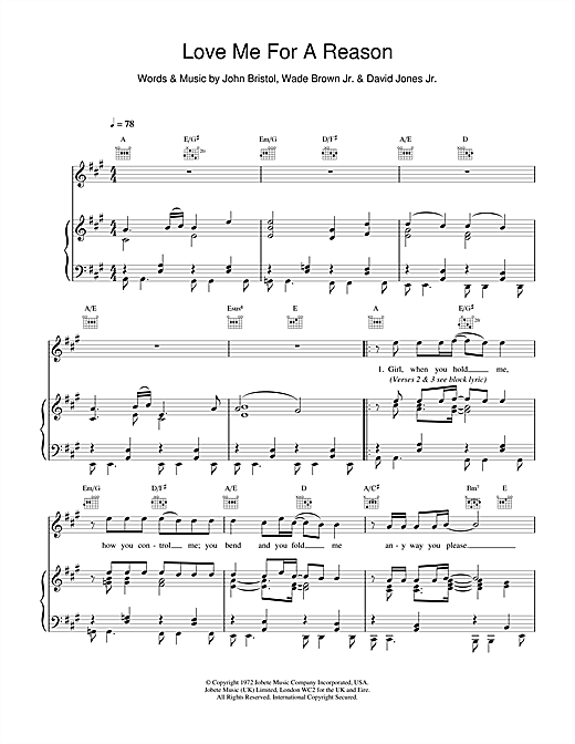 Love Me For A Reason Sheet Music