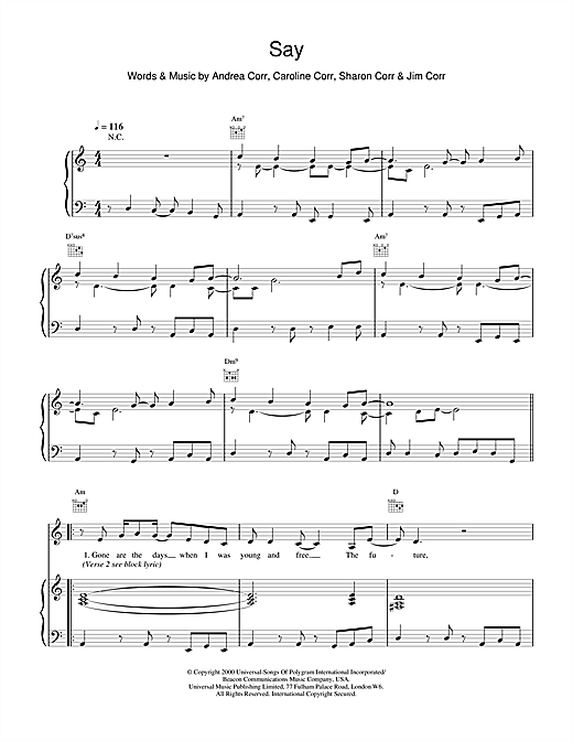 Say Sheet Music