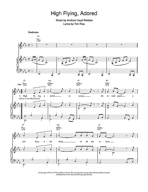 High Flying, Adored (from Evita) Sheet Music