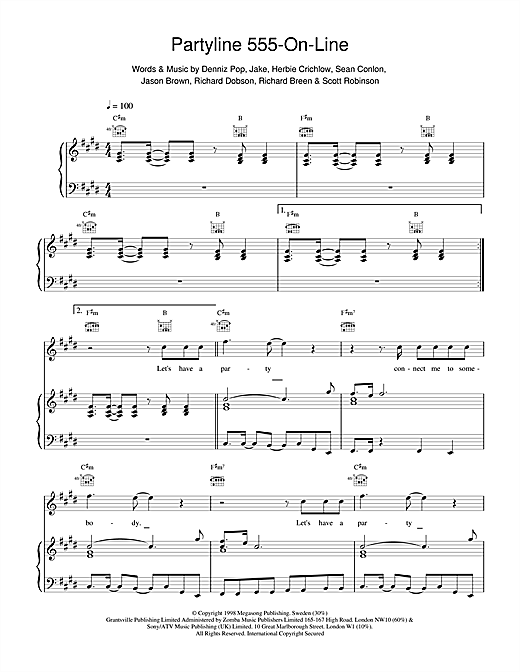 Partyline 555 On Line Sheet Music