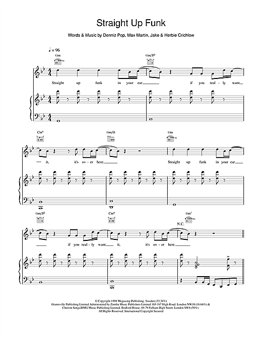 Straight Up Funk Sheet Music