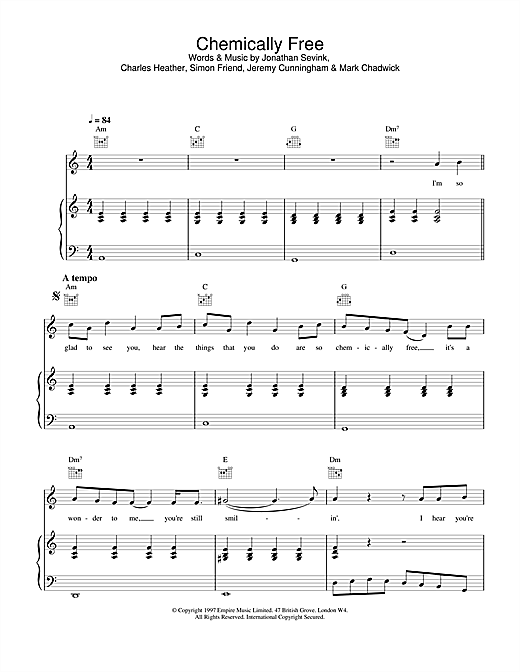 Partition piano Chemically Free de The Levellers - Piano Voix Guitare