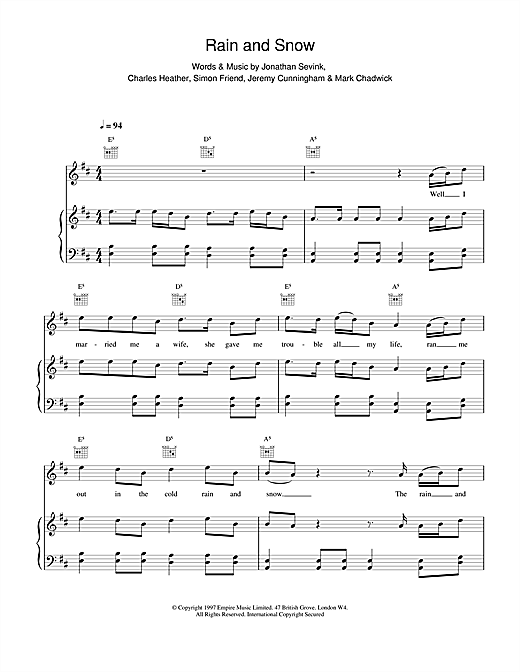 Rain And Snow Sheet Music