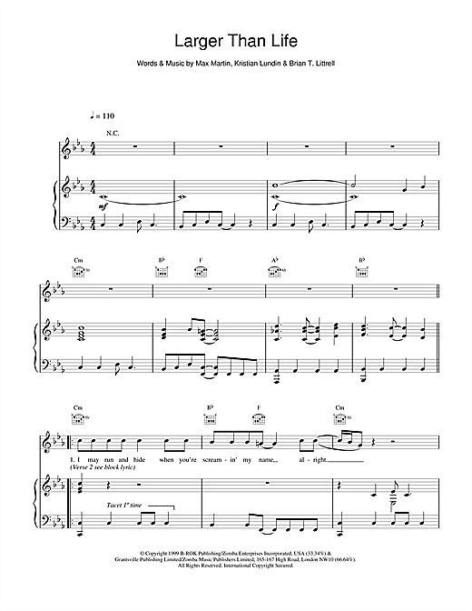 Larger Than Life Sheet Music