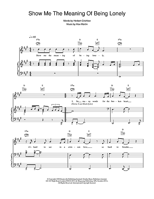 Show Me The Meaning Of Being Lonely sheet music by Backstreet Boys ...