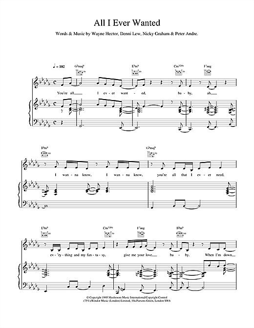 All I Ever Wanted Sheet Music