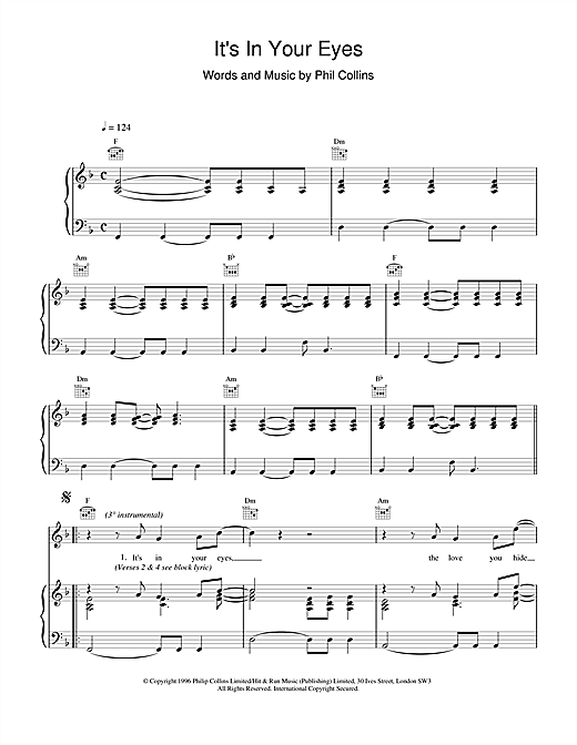 It's In Your Eyes Sheet Music