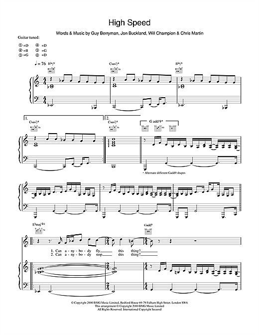 High Speed Sheet Music
