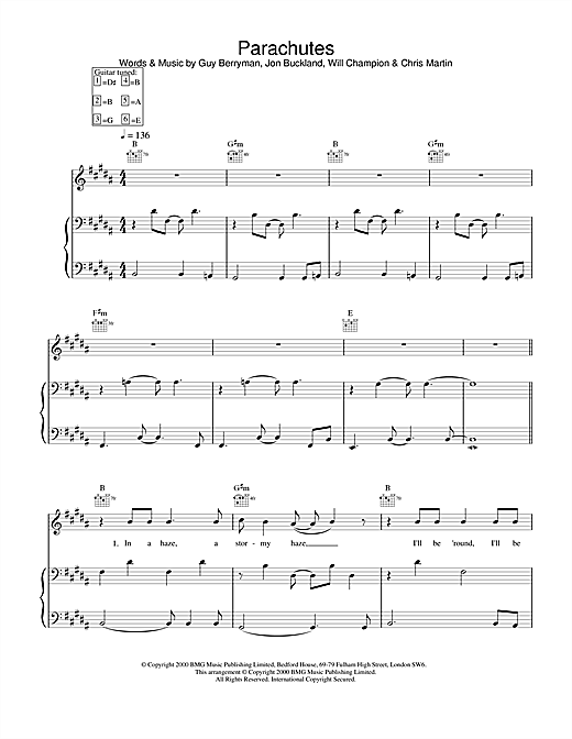 Parachutes Sheet Music