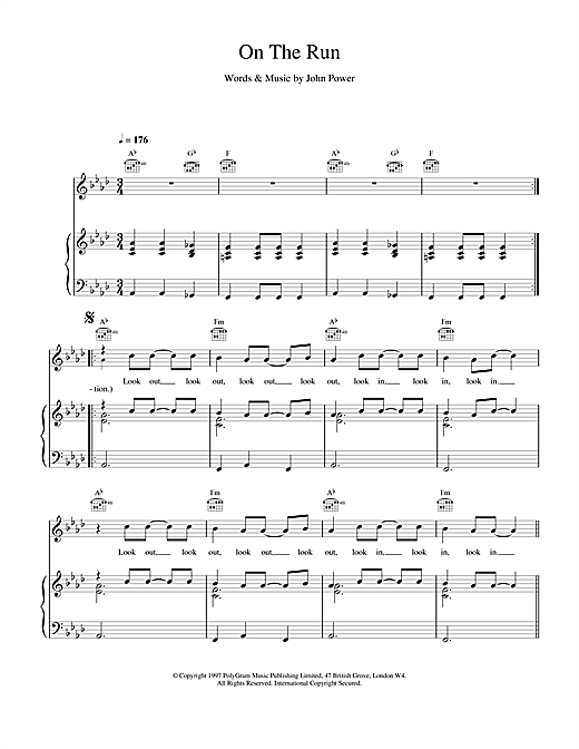 On The Run (Piano, Vocal & Guitar (Right-Hand Melody))