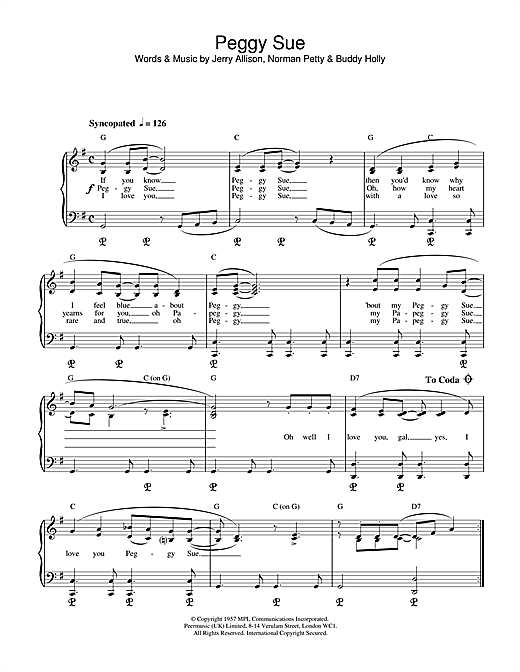 Peggy Sue Sheet Music