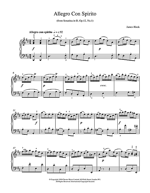 Allegro Con Spirito Op.12 No.1 Sheet Music