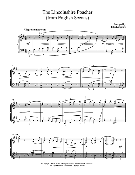 Partition piano The Lincolnshire Poacher de John Basil Hugh Longmire - Piano Solo
