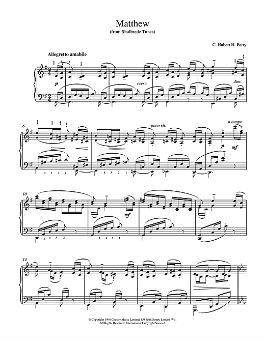 Partition piano Matthew From Shulbrede Tunes de Hubert Parry - Piano Solo