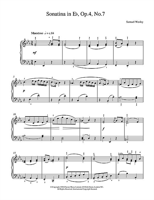 Partition piano Sonatina Op4 No7 de Wesley - Piano Solo