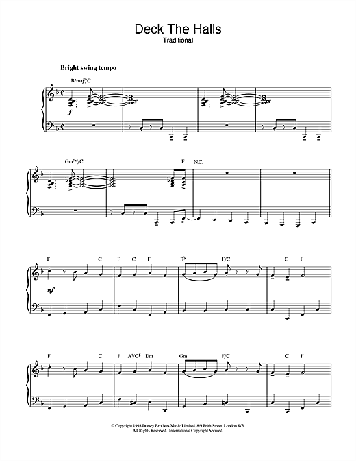 Deck The Halls (jazzy arrangement) Sheet Music