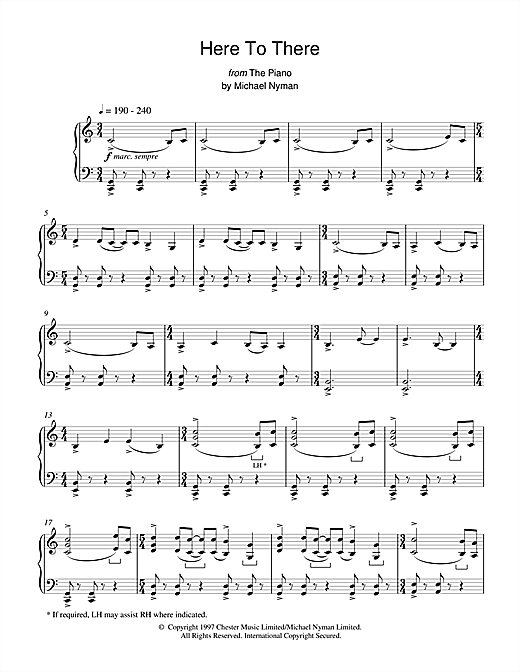 Here To There (from The Piano) Sheet Music