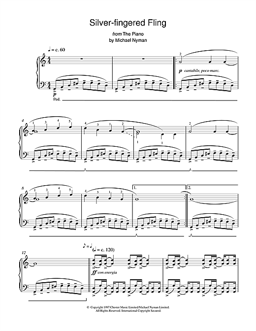 Partition piano Silver-Fingered Fling (from The Piano) de Michael Nyman - Piano Solo