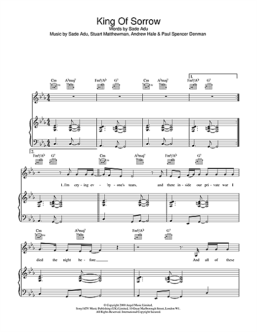 King Of Sorrow Sheet Music