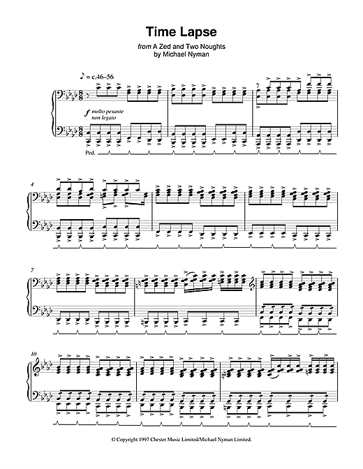 Partition piano Time Lapse (from A Zed And Two Noughts) de Michael Nyman - Piano Solo